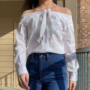 H&M White Off the shoulder tie front blouse